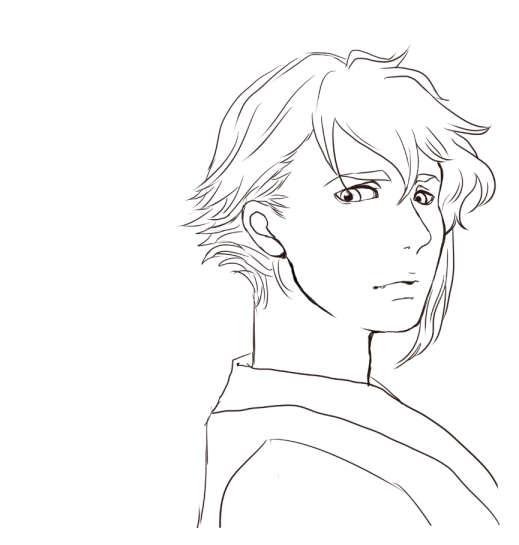 和装の金髪の男線画