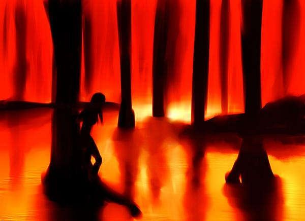 夕暮れの熱帯林と少女の影
