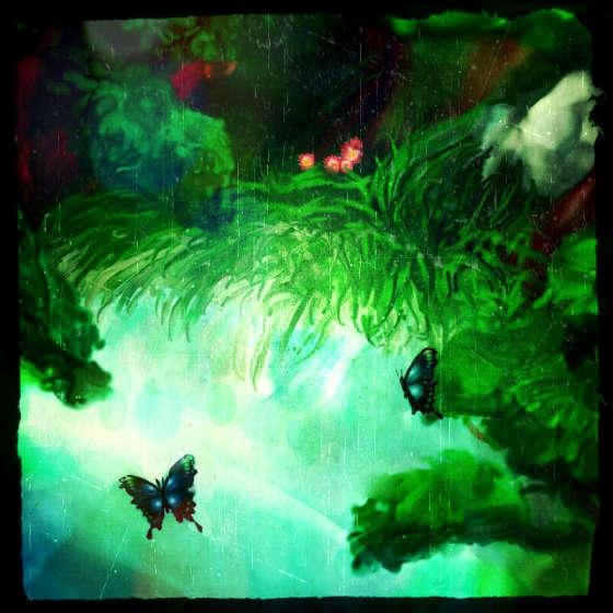 雨降りの光る泉に居る青い蝶