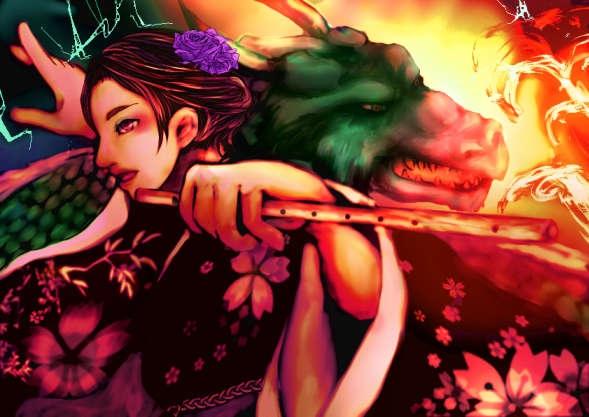 笛を持った和服の女性と火を噴く竜