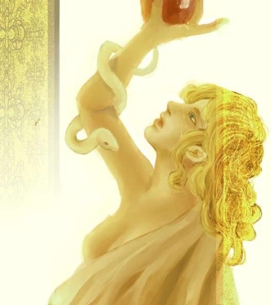 リンゴと蛇と金髪の女性