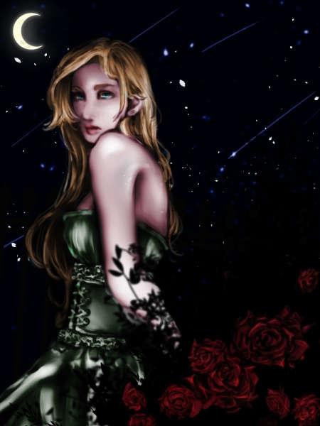 三日月に照らされる金髪のドレスの女性と薔薇