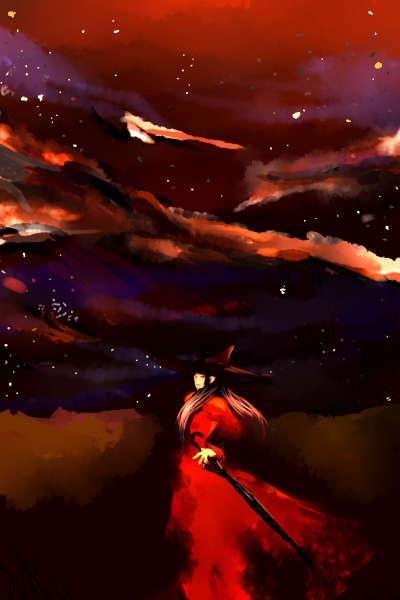 暗い荒野の三角帽子に黒い傘を持つ赤いドレスの女