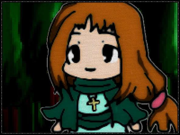 RPGの僧侶っぽいミニキャラ少女