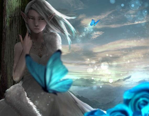 白いドレスにファーをつけたエルフと青い蝶