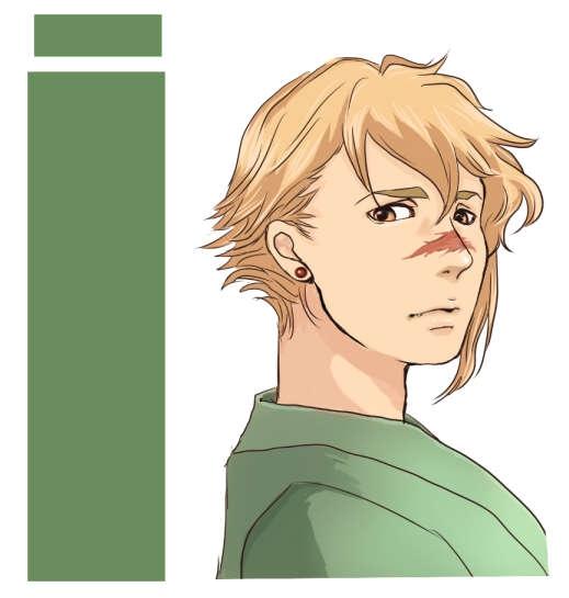 和装の金髪の男カラー