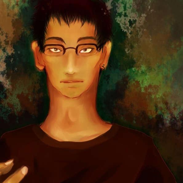 三白眼の眼鏡の男性