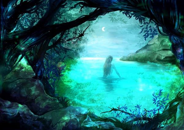 森の奥の泉で月に照らされて水浴びをするエルフ