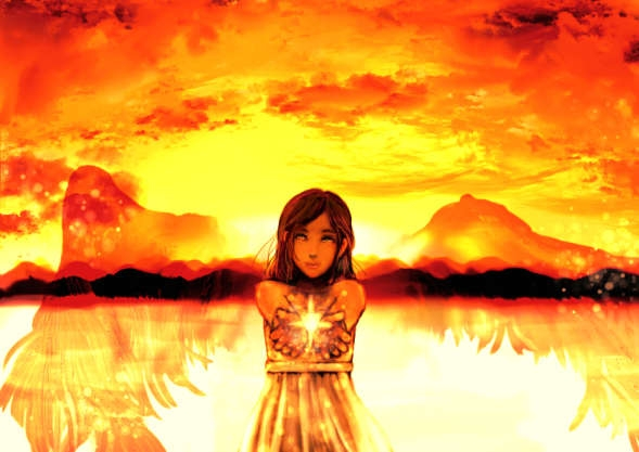 夕焼けに透ける透明な翼の天使