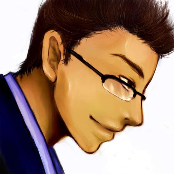 眼鏡をかけた男性厚塗り