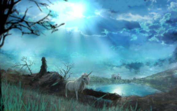 雲の間からの太陽に照らされた水面を眺める魔法使いと佇むユニコーン