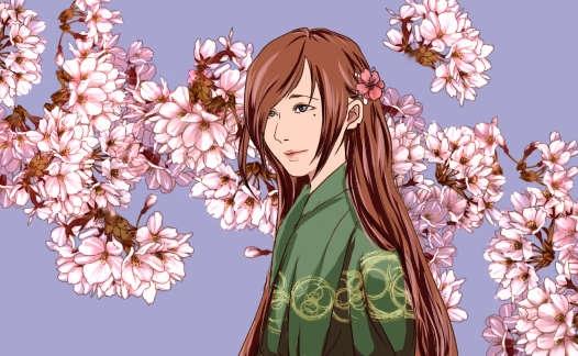 桜を背景に微笑む髪の長い和装の女性のアニメ塗り