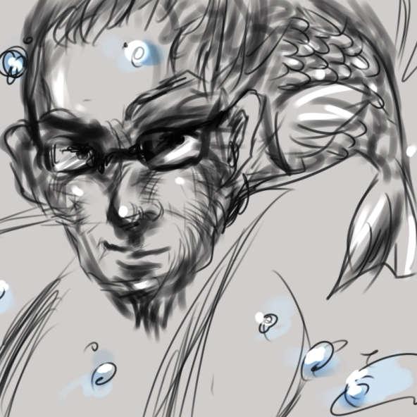 眼鏡をかけた男性魚