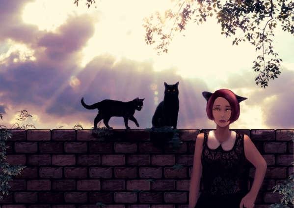 二匹の黒猫と猫耳娘