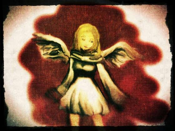 ニヒルな笑みを浮かべる白いドレスの少女天使