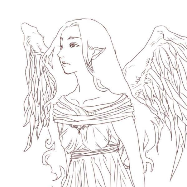 遠くを眺めている堕天使線画