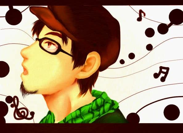 眼鏡をかけた男性横顔