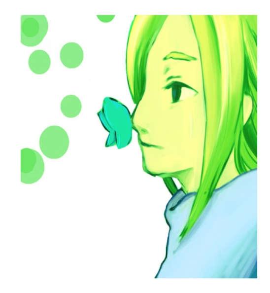 金色の髪の少女の鼻に止まる青い蝶
