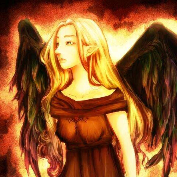 遠くを眺めている堕天使カラー