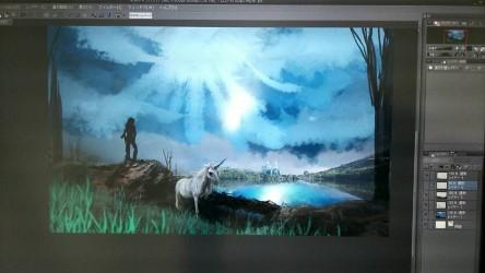雲の間からの太陽に照らされた水面を眺める魔法使いと佇むユニコーン未完成