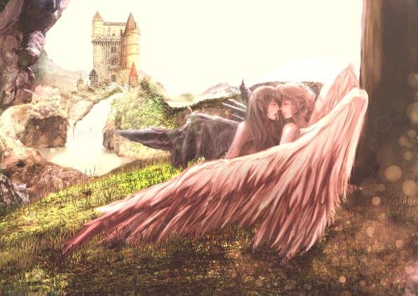 黄昏にデビルとエンジェルは木陰で密やかに愛を紡ぎあう