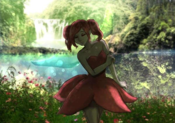 幻想的な泉にいる妖精は光と共に上機嫌に花と戯れる
