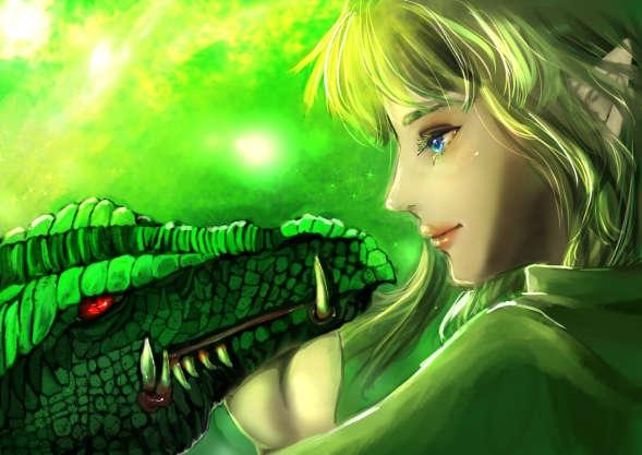 煌めく若緑の森の民と気高きドラゴンは慈しむように見つめ合う