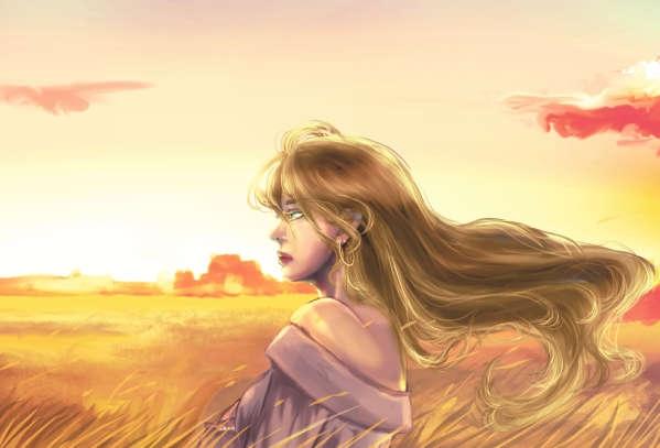 秋風の吹く金色の草原で夕日を受ける妙齢の女性