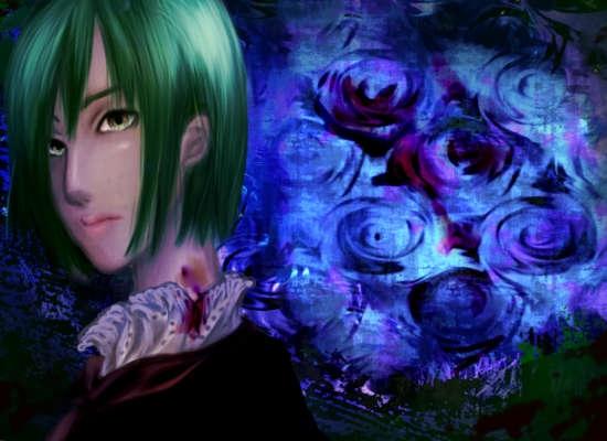 薔薇を背にして首筋の噛み跡から血を流しながらこちらを見る娘