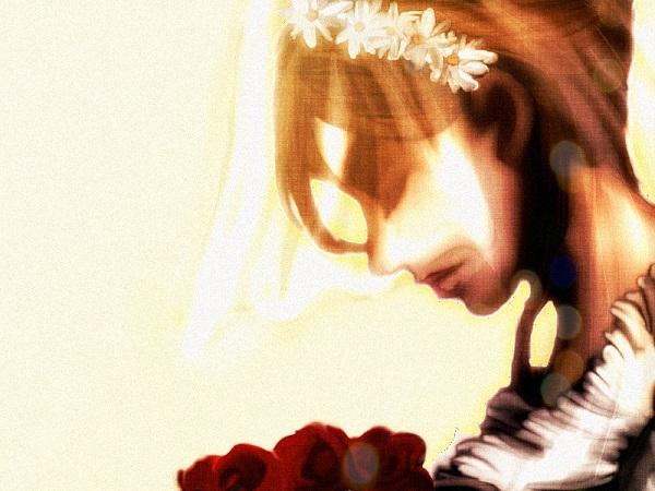 淡い光の中目を伏せた花嫁は神聖な祈りを捧げる