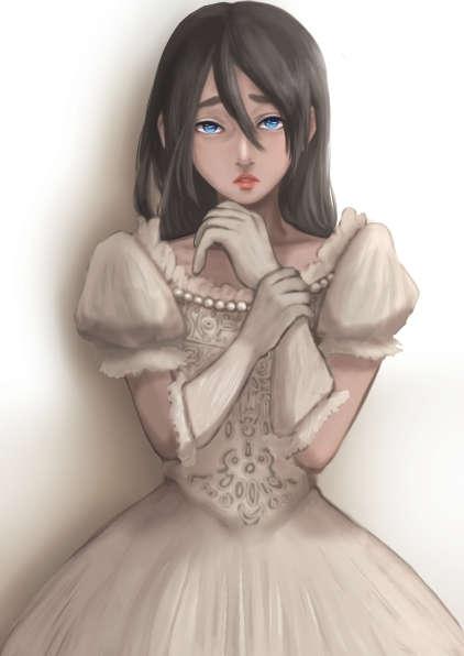 ガラス玉のような碧眼で怯えて立ちすくむ白い装いの壁の花