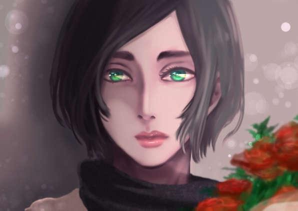 薔薇の花束を抱え翠眼を宝石の如く煌かせて凝視する女人