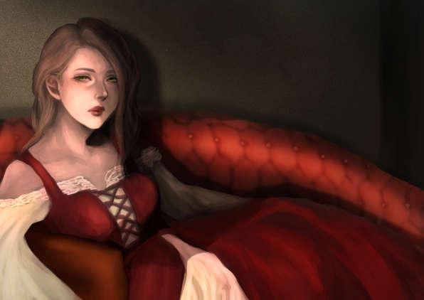 ソファに寛いでいる赤いワンピースを身に纏った妙齢の女